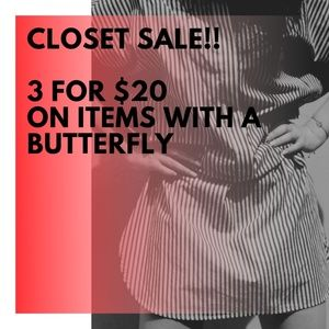 🦋 Items with this butterfly are 3 for $20